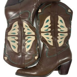 Women's Western Nine West Cowboy Boots With Hearts